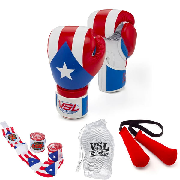 Puerto Rico LEATHER Boxing Gloves with PR Hand Wraps, Laundry Bag & Glove Dogs