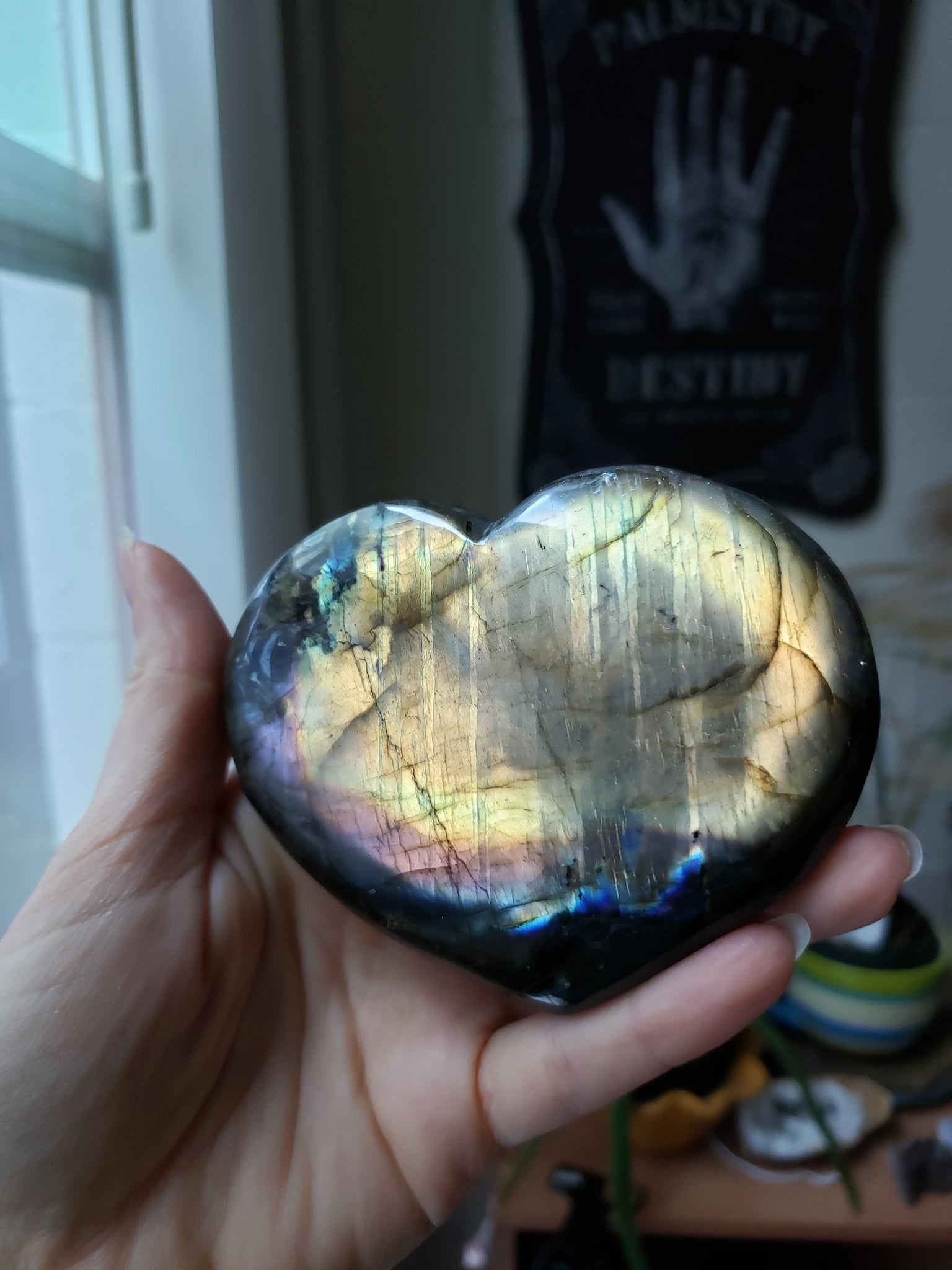 Orange Flash Labradorite Heart - essentialchijewelry