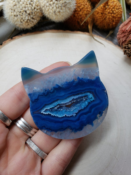 Blue Druzy Banded Agate Cat - essentialchijewelry