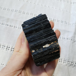 Raw Black Tourmaline with mica and iron - essentialchijewelry