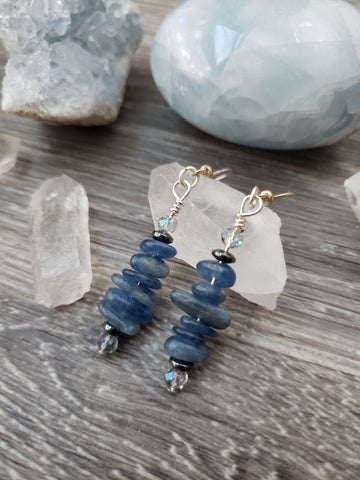 Blue Kyanite and Hematatite Earrings - essentialchijewelry