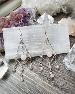 Rose Quartz Chandelier Earrings - essentialchijewelry
