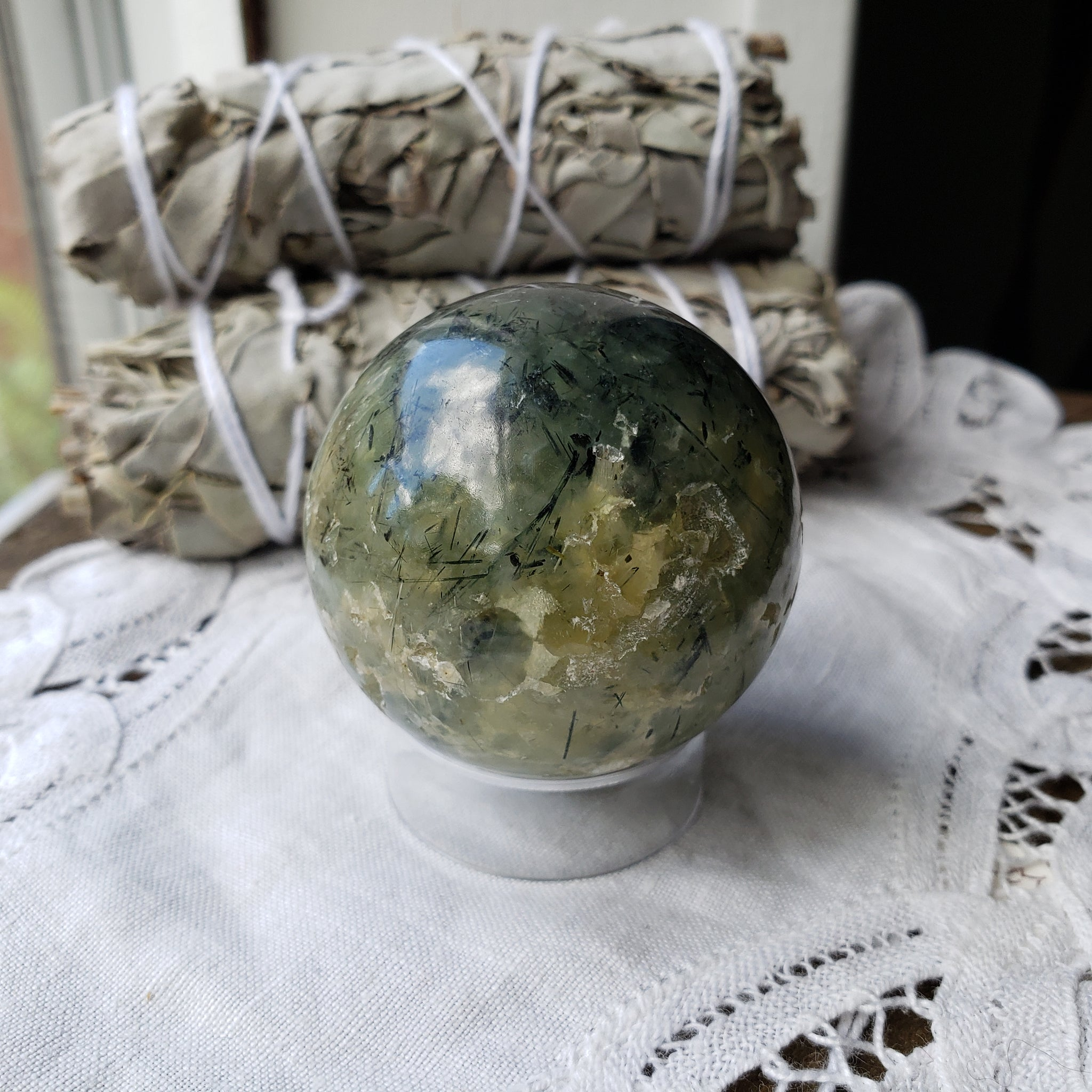 Prehnite with Epidote Sphere 23pe