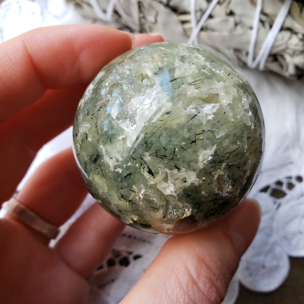 Prehnite with Epidote Sphere 22pb