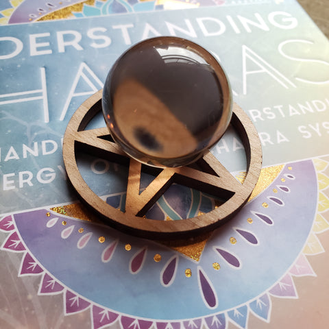 Smoky Quartz Sphere with Pentacle Stand