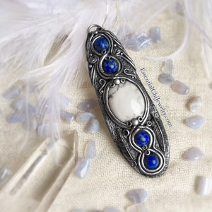 Lapis Lazuli & Howlite Talisman (chain included) - essentialchijewelry