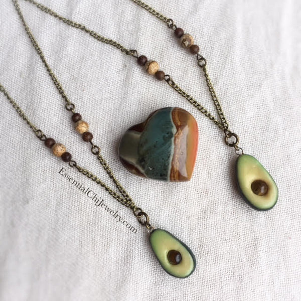 Avocado Love Tiger Eye Necklace - essentialchijewelry