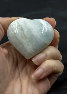 Caribbean Blue Calcite Heart 10AU