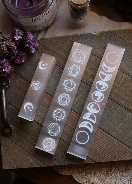 Etched Selenite Stick with Triquetra