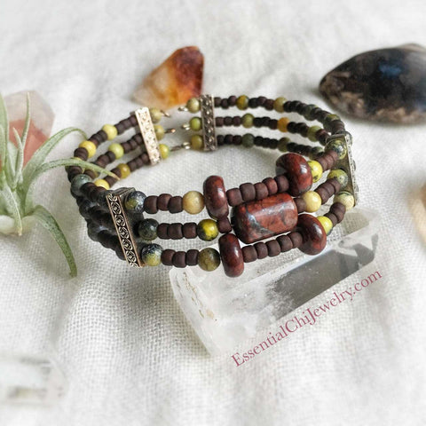 Fawn Brecciated Jasper and Serpentine Jade Wrap Bracelet - essentialchijewelry