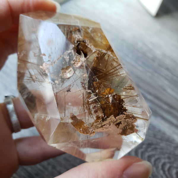 Rutilated Garden Quartz Free Form with Manifestations and Golden Healer - essentialchijewelry