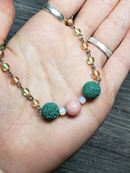 Pink Jade & Moonstone Diffuser Necklace