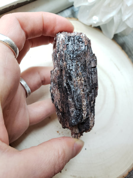 Raw Black Tourmaline with Mica 1e - essentialchijewelry