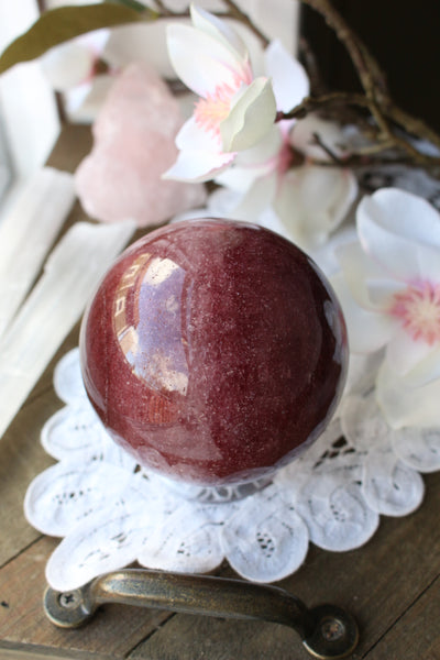 Strawberry Quartz Sphere 76mm - essentialchijewelry
