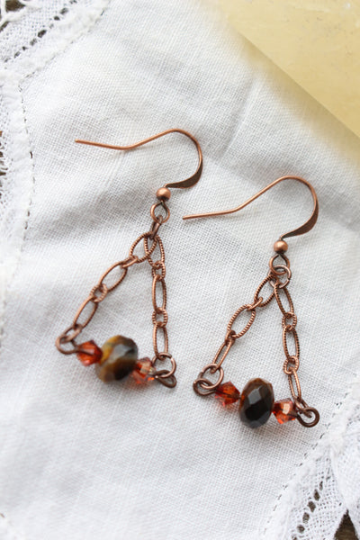 Tiger Eye and Swarovski Copper Earrings