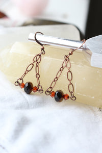 Tiger Eye and Swarovski Copper Earrings - essentialchijewelry