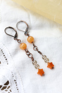 Peach Aventurine and Smoky Quartz Dangle Earrings