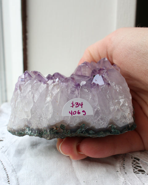 Amethyst Semi-Polish Cluster Point B