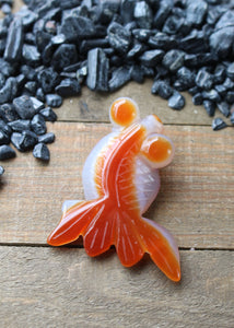 Agate Koi Goldfish Carving 18AA