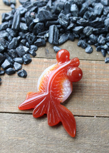 Agate Koi Goldfish Carving 18AB