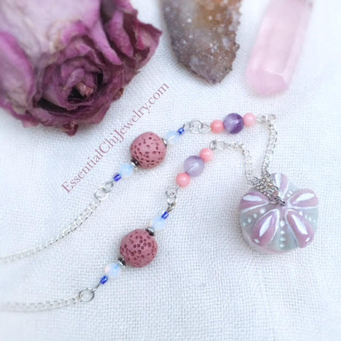 Rose Quartz Sea Urchin Diffuser Necklace - essentialchijewelry