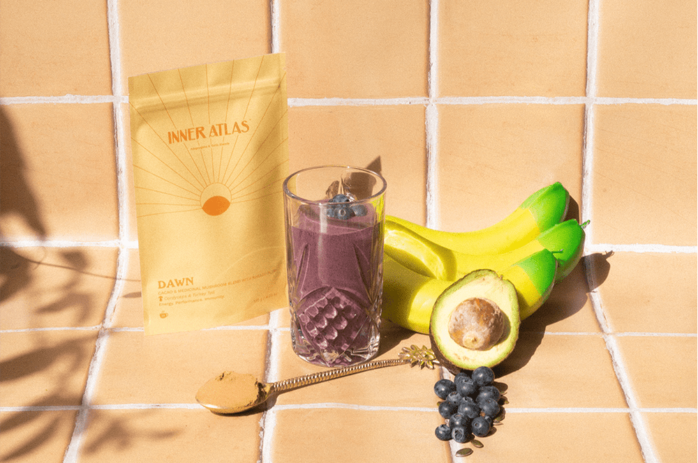 Inner Atlas Smoothie Recipe Dawn Blend with Medicinal Mushrooms Cordyceps and Turkey Tail | medicinal mushrooms | reishi mushroom | chaga mushroom | turkey tail mushroom | lions mane australia