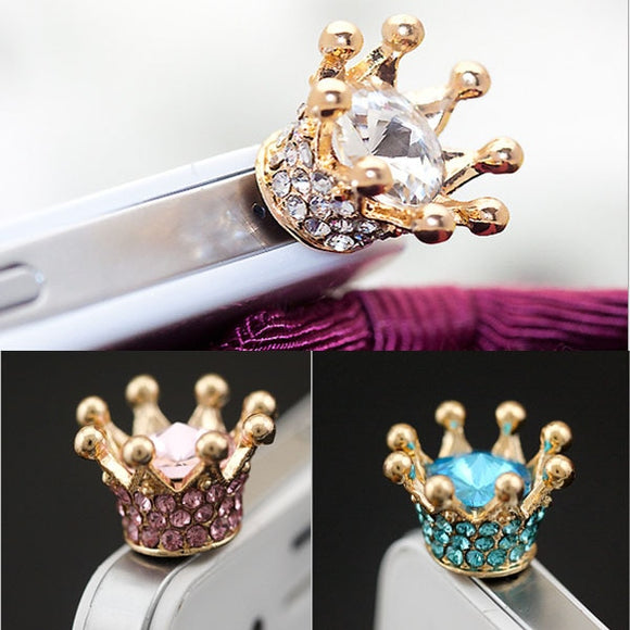 2019 New ABAY Lightweight 3.5mm Earphone Jack Dust Plug Rhinestones Crown Anti-dust Plug for Iphone XR Cell Phone Accessories