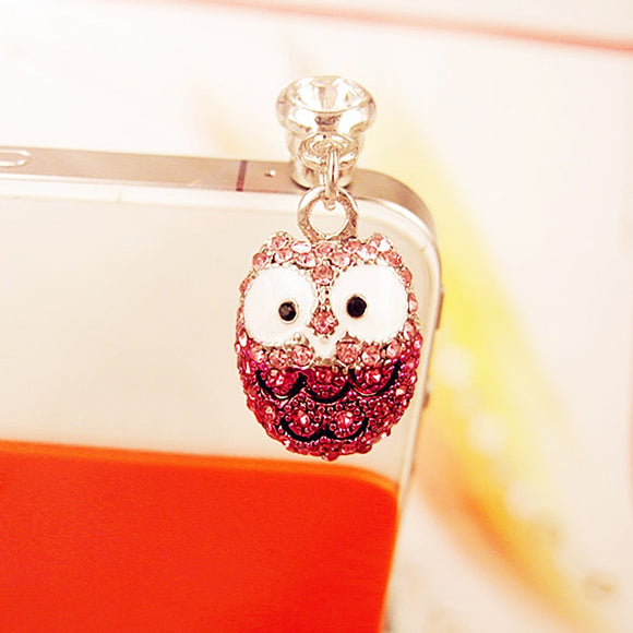 Lovely Big Eyes Owl Diamond Dust Plug Diamond Pendants Phone Accessories Universal Cell Phone Dust Plug