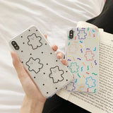 INS Korea super fire candy color bear phone case For iphone Xs MAX XR X 6 6s 7 8 plus cute wave point clear color TPU back cover