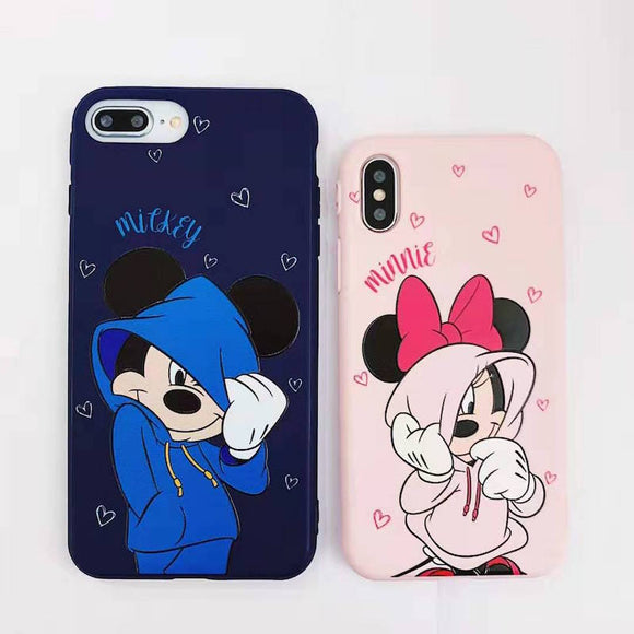Cartoon trend Mickey Mini mobile case for iPhone 11p 7 6 8plus pink love couple mobile case for iPhoneX XS MAX phone case coque