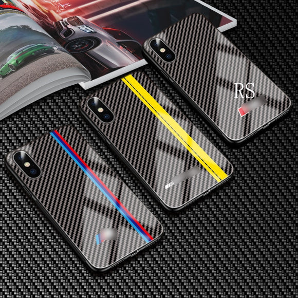 Tempered Glass Car Logo Case for IPhone 7 8 6s Plus Phone Case Carbon Fiber Mobile Phone Case for IPhone 11 pro max Xs XR X Case