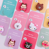 Universal Mobile Phone Socket Gasbag Bracket Expanding Finger Car Holder for Iphone 6 7 8 Xs Xiaomi Cartoon Hello Kitty Doraemon