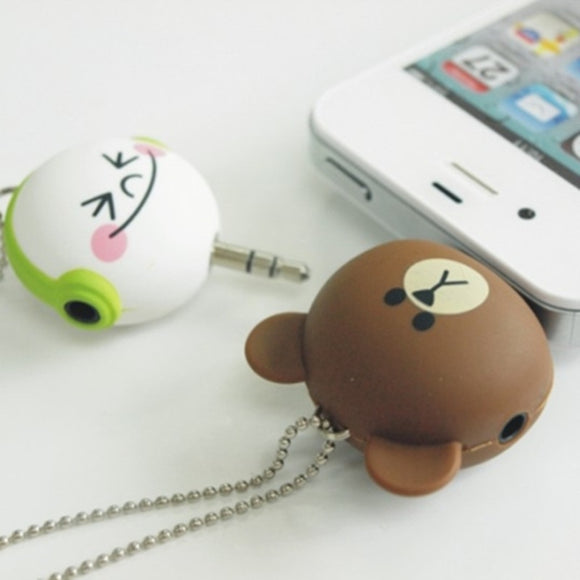 One to two Music Sharing Device Cartoon Headset Deconcentrator 3.5mm Anti Dust Plug Cell Phone Accessories For Iphone All Phone II