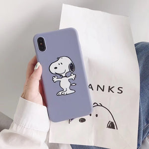Japan cartoon anime Charlie Brown Lucy phone case For iphone Xs MAX XR X 6 6s 7 8 plus cute puppy painted candy soft TPU Cover