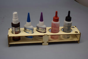 Glue Bottle Rack: Fits 2 Bob Smith CA Glue Bottles & 3 round bottles