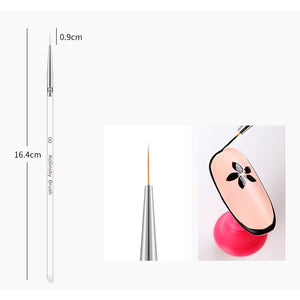 3Pcs/set Kolinsky Nail Art Brush Crystal Acrylic Thin Liner Drawing Pen Painting Stripes 2 side Manicure Tool