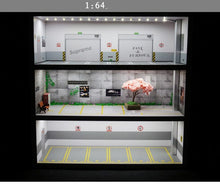 Load image into Gallery viewer, 1:64 parking lot model display cabinet toy Car storage rack shelf box simulation garage show parking zone scene