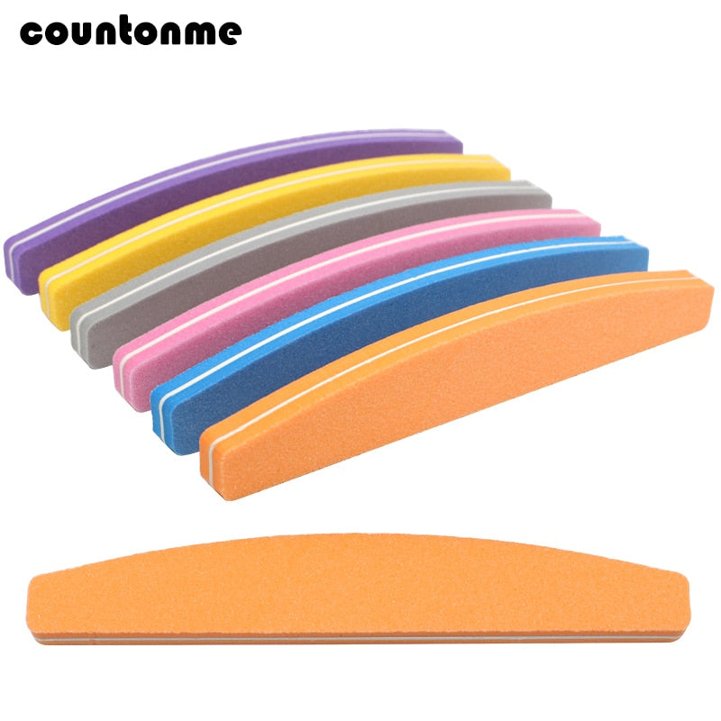 5x Nail Sponge Sandpaper File Buffs For Nail Moon Design 100/180 Sanding Foam Emery Board Nail Files Polisher Buffer Mix Color