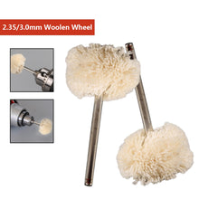 Load image into Gallery viewer, 10pcs 2.35MM/3.0MM Diameter Woolen Polishing Wheel Buffing Pad Brush Set Dremel Rotary Power Tools