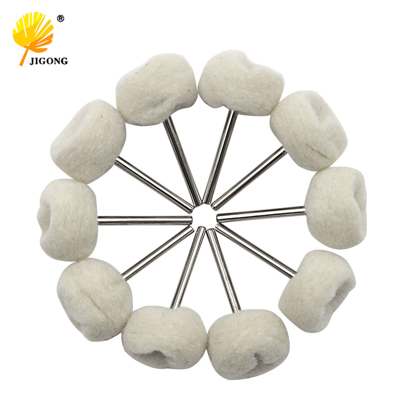 10PCS  Fine Shank Wool Polishing Head