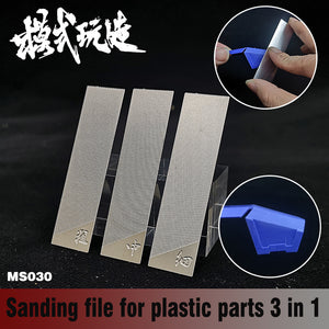 Gundam Military Model 3 in 1 Stainless Steel Sanding File for Plastic Parts Ghost knife Hobby Grinding Tools