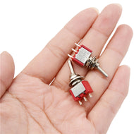 2pcs/lot Red 3 Pin ON-OFF-ON 3 Position SPDT Mini Momentary Toggle Switch: Model Car Hydro Switches