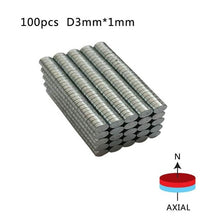 Load image into Gallery viewer, Lot of 200 set Round Neodymium Disc Magnets Dia 3mm x 1mm N50 Super Powerful. Awesome Deal.
