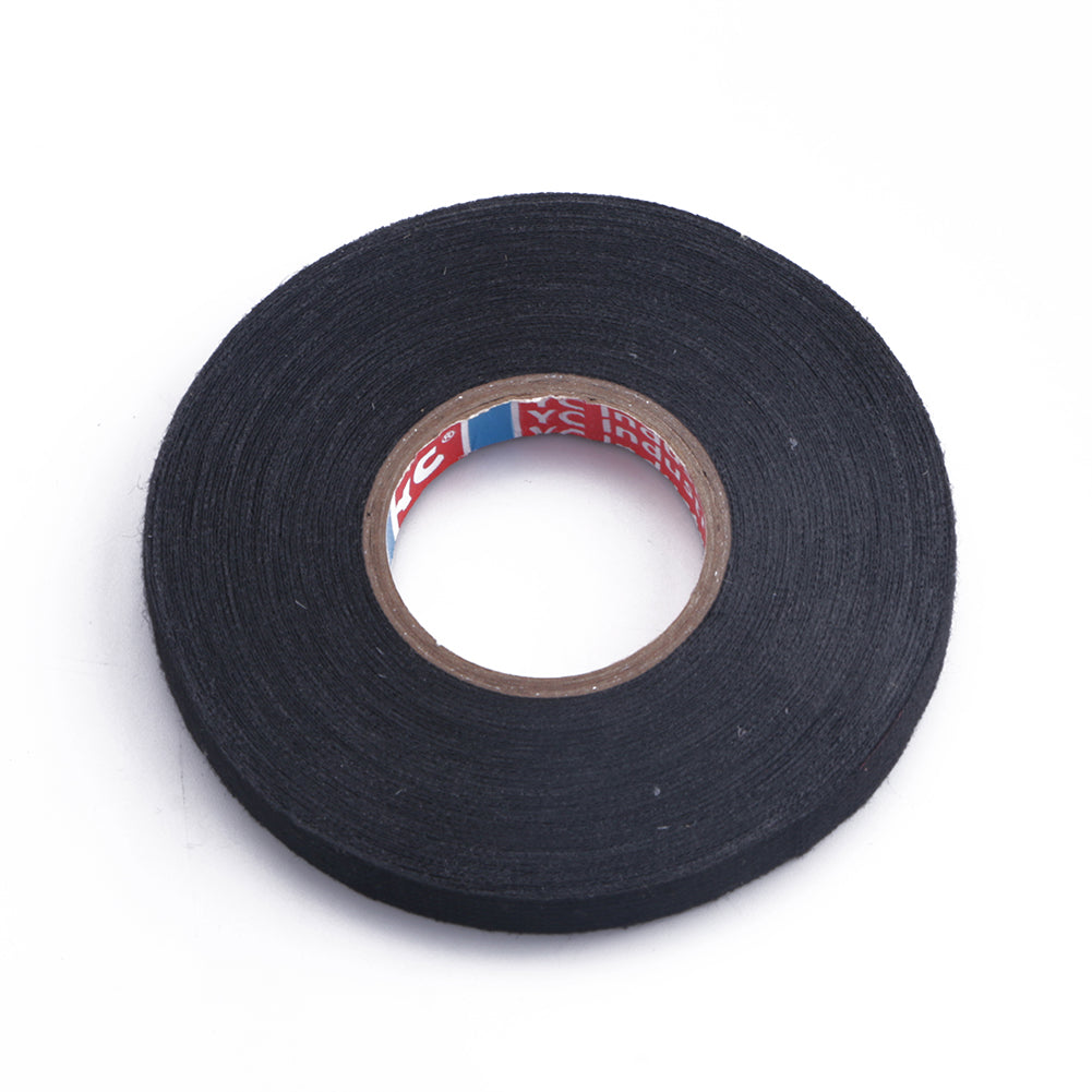 9mm*15M Cloth Adhesive Fabric Black Tape Insulation Wiring Harness for Car Tool