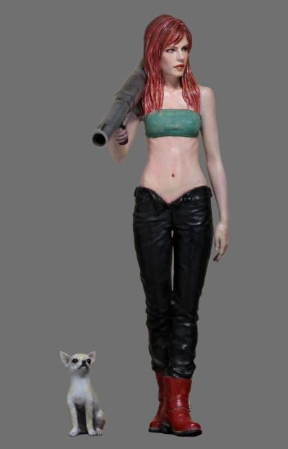 1:24 Resin Female Figure Model Gilr with Dog  R02