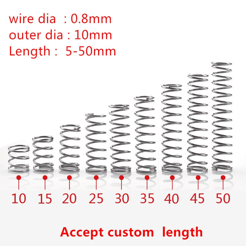 Springs 10Pcs/ 0.8x10mm Stainless Steel.