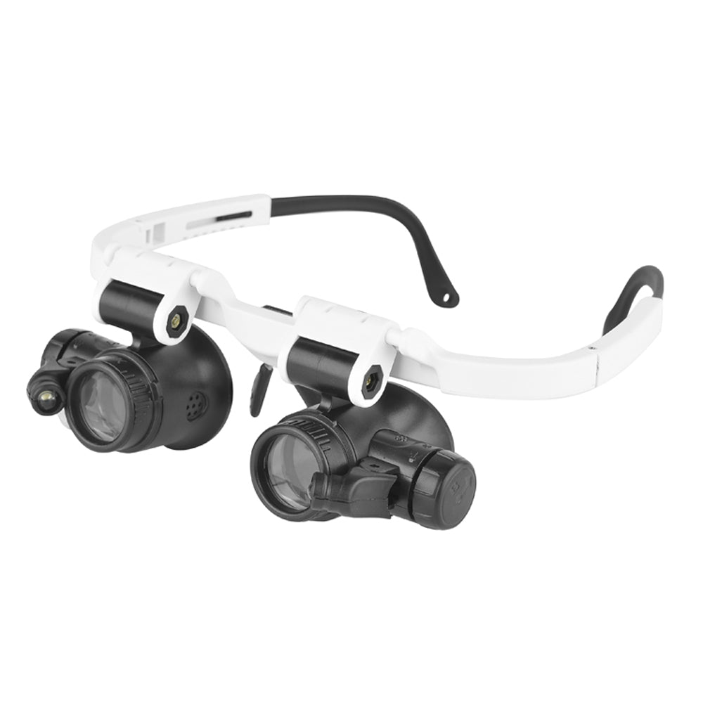 8X 15X 23X Double Eye Loupe Head Wearing Magnifier Illuminated Magnifying Glass LED Light