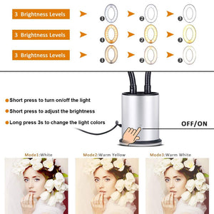 Dimmable LED Studio Camera Ring Light Photo Video Light Ring Lamp With Suction Cup