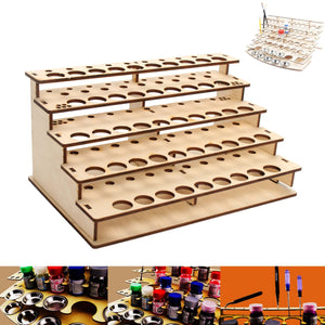 Pigment Bottle Storage Organizer Wooden Color Paint Ink Brush Stand Rack Modular Holder Home School Drawing Tool Organizer