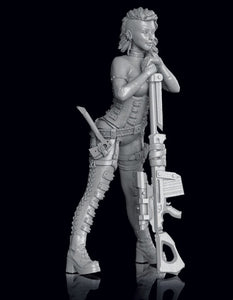 1/24 warrior girl stand Resin figure Model kits Miniature Unpainted